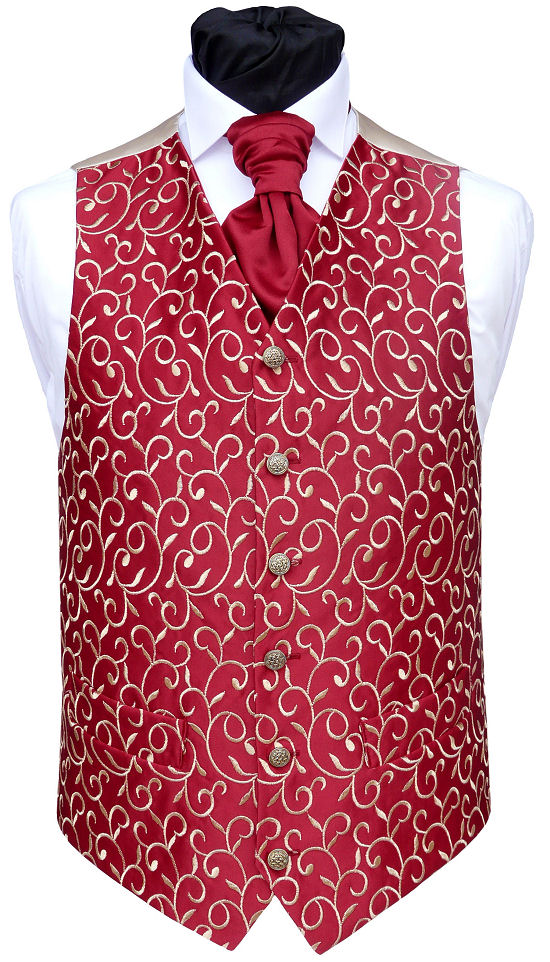 Wedding Waistcoats : Burgundy / Wine Waistcoats : Waistcoat - Wine and Honey Satin