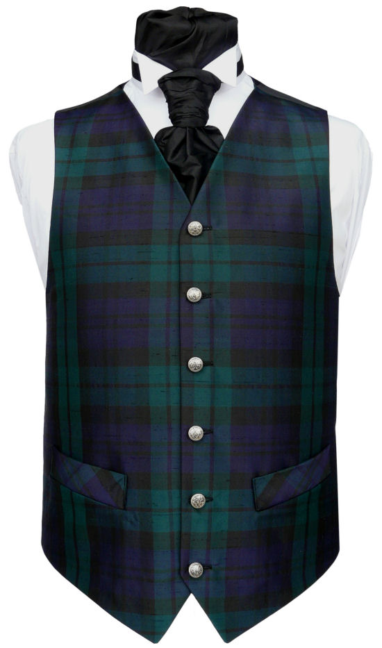 Waistcoat Style- TS242- Front Fabric- Black Watch Tartan Silk Dupion- Colour- Black/Green/Navy- Buttons- Silver pattern- Back & Lining- Black Polyester- You can click here to view our waistcoat size chart.Please Note: Silk dupion is a natural fibre and there may be irregularities in the weave. This is part of the character of the fabric.