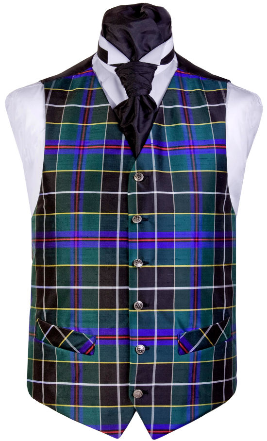 The stylish alternative to the Cornish National Tartan. Waistcoat Style- TS090- Front Fabric- Silk - Colour- Cornish Hunting Tartan- Buttons- Silver- Back & Lining- Black Polyester- You can click here to view our waistcoat size chart.Please Note: Silk dupion is a natural fibre and there may be irregularities in the weave. This is part of the character of the fabric.