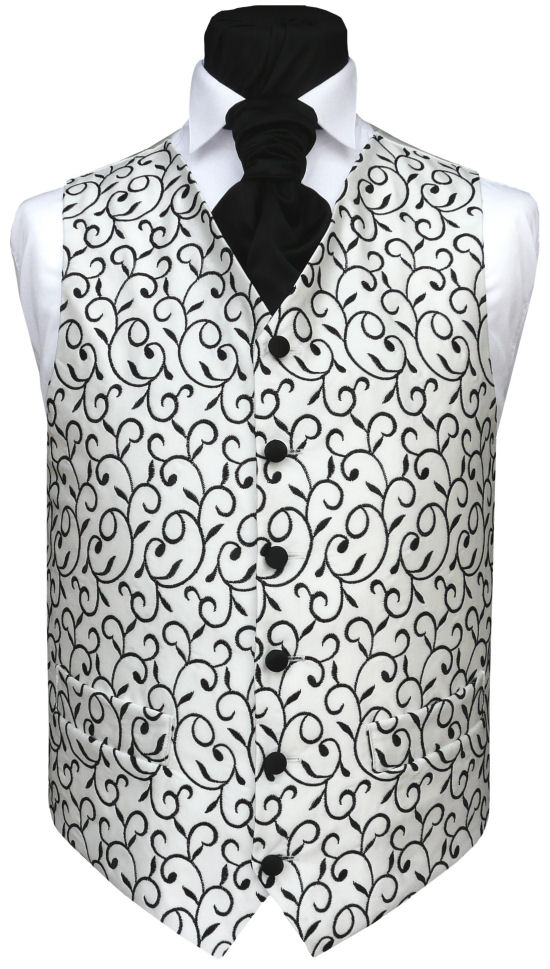 Distinctive waistcoat featuring black swirl embroidery on light ivory satin. Waistcoat Style- TS133- Front Fabric- Embroidered Satin- Colour- Black on Ivory- Buttons- Black- Back & Lining- Light Ivory Satin- You can click here to view our waistcoat size chart.
