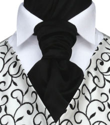 Wedding Waistcoats : Ivory / Pale Colour Waistcoats : Featured Neckwear - Black Satin Pre-Tied Scrunchie
