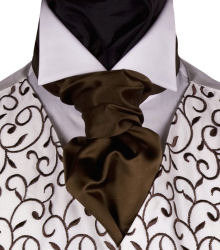 Wedding Waistcoats : Ivory / Pale Colour Waistcoats : Featured Neckwear - Chocolate Satin Self Tie Scrunchie Tie