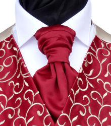 Wedding Waistcoats : Burgundy / Wine Waistcoats : Featured Neckwear - Light Wine Pre-Tied Scrunchie