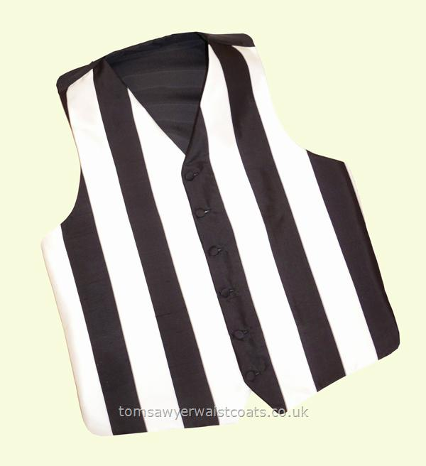 The Stripes club supporter's waistcoat is made to order in your club colours, whether it be a Football or Rugby club or your national team. Please specify stripe width and colours required when ordering. This waistcoat can be made with vertical or horizontal stripes and comes with or without plain coloured pockets.The waistcoat shown is in the Newcastle colours of black and white silk with stripes of 2'' (5cm) width. ''I would just like to take a....