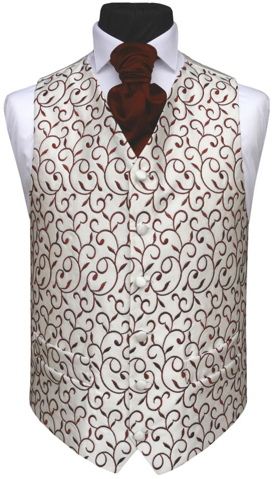 Light Ivory with Dark Wine Embroidery Waistcoat