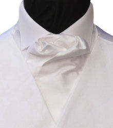 Featured Neckwear - White Silk Ready Tied Cravat