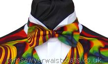 Psychedelic swirls of vivid colour- Style- Pre-Tied Bowtie- Colour- Multicoloured swirls- Fabric- Cotton- -