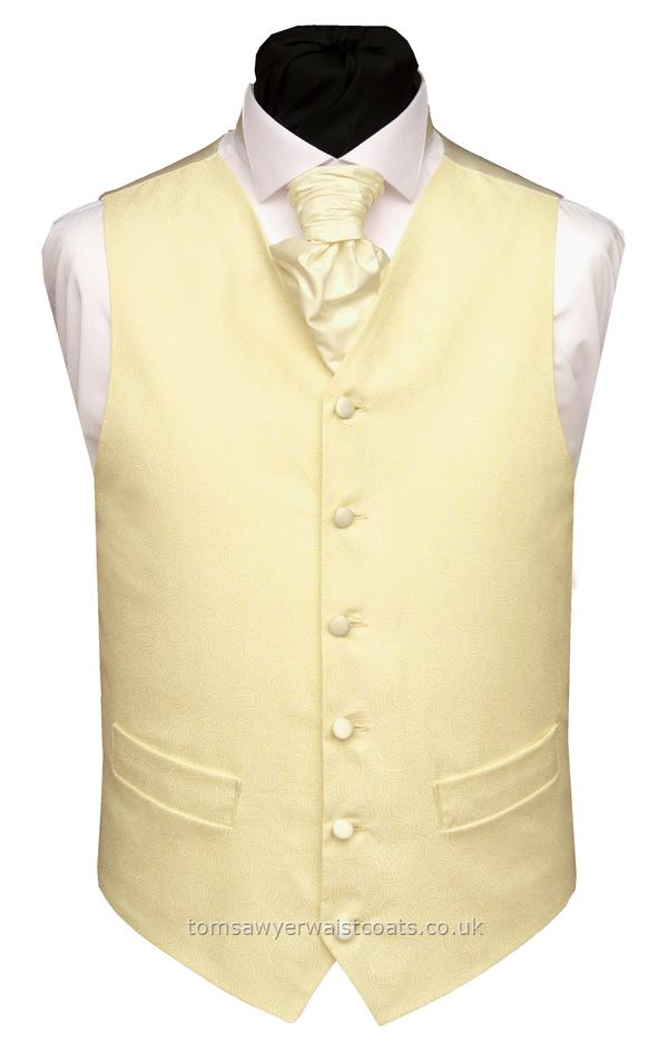 Wedding Waistcoats : Beach Wedding Waistcoats : Cream with Ivory Pattern Cotton Waistcoat