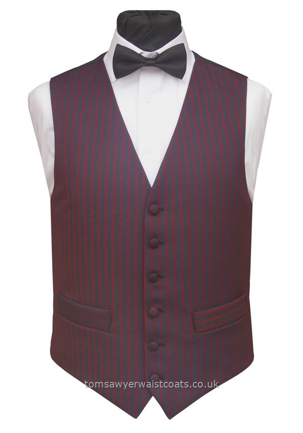 Navy and Burgundy Stripe Mens Waistcoat