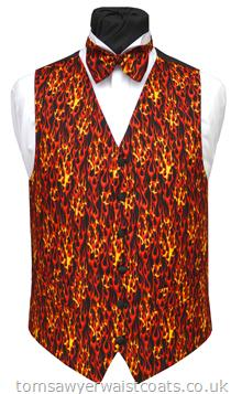 You can almost feel the heat from the fierce red and orange flames covering this waistcoat. Waistcoat Style- TS302HO- Front Fabric- Cotton- Colour- Red & Orange on Black- Buttons- Black Satin- Back & Lining- Black Polyester- Just one size 44'' Chest waistcoat available from stock at this HOT OFFER price-