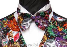 This waistcost is available in extra large bespoke sizing to suit your requirements. It is a vibrantly coloured pattern of carnival masks, perfect for an evening party, black tie event or a masquerade ball. Style- Pre-Tied Bowtie- Colour- Multi- Fabric- Masquerade printed cotton-