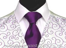 Wedding Waistcoats : Purple / Aubergine Waistcoats : Featured Neckwear - Purple Satin Necktie