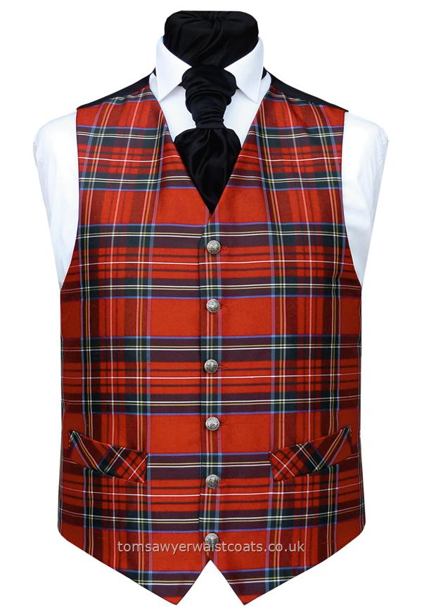 Waistcoat Style- TS295- Front Fabric- Royal Stewart Tartan Silk Dupion- Colour- Scarlet/Black/White/Yellow/Blue- Buttons- Silver pattern- Back & Lining- Black Polyester- You can click here to view our waistcoat size chart.Featured Shirt: ''York'' Swept Wing Collar Dress Shirt in White-Please Note: Silk dupion is a natural fibre and there may be irregularities in the weave. This is part of the character of the fabric.