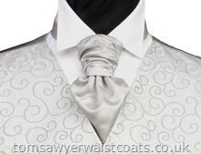 Wedding Waistcoats : Silver Waistcoats : Featured Neckwear - Silver Satin Pre-Tied Scrunchie