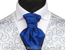 Featured Neckwear - Classic Blue Silk Pre-Tied Scrunchie