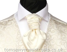 Wedding Waistcoats : Ivory / Pale Colour Waistcoats : Featured Neckwear - Cream Satin Pre-Tied Scrunchie