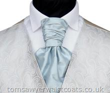 Wedding Waistcoats : Blue Waistcoats : Featured Neckwear - Powder Blue Silk Pre-Tied Scrunchie