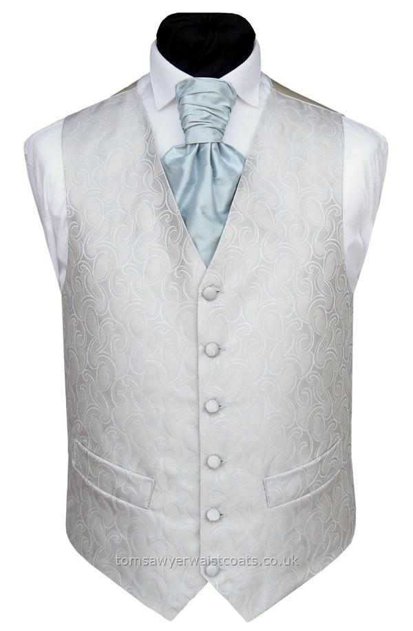 Powder Blue and Oyster Waistcoat