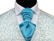 Order the featured neckwear here or, to choose a different style, select a neckwear category from the menu. Our picture shows the following:- Style- Ready Tied Scrunchie Tie- Colour- Kingfisher (DW)- Fabric- Polyester Matt Satin- We will supply this item in Kingfisher Satin (DW) unless you request otherwise.Neckwear is available in a variety of other colours to compliment the Turquoise Rumours waistcoat.Please enter your colour choice at checkout....