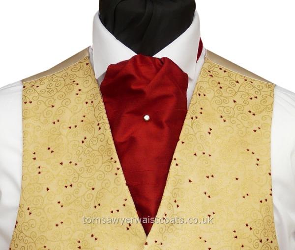 bfd7893c233 Wedding Waistcoats : Gold Waistcoats : Featured Neckwear - Tartan Red Silk  Self-tie Cravat