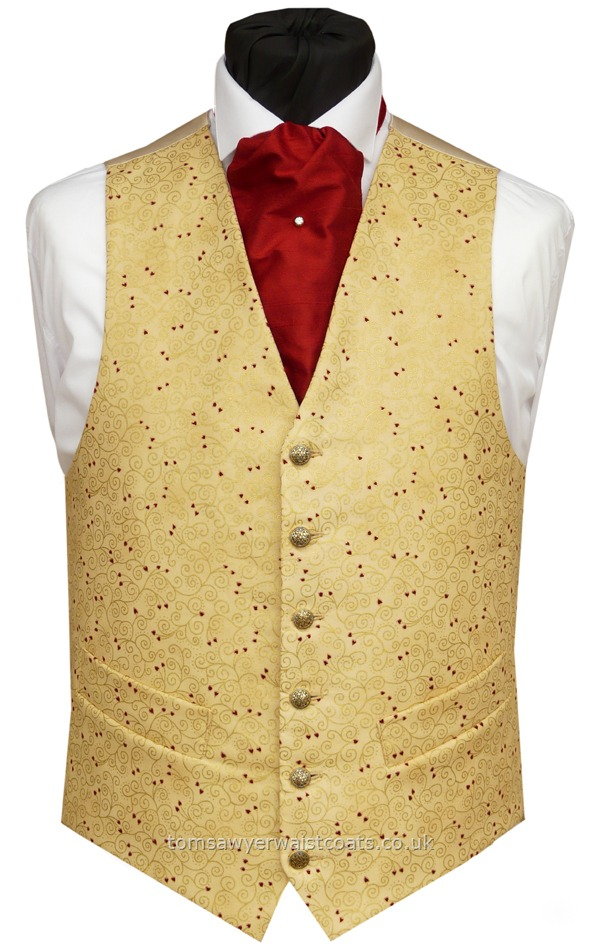 da6a3d17b38 Wedding Waistcoats : Gold Waistcoats : Gold Swirls and Red Hearts Waistcoat