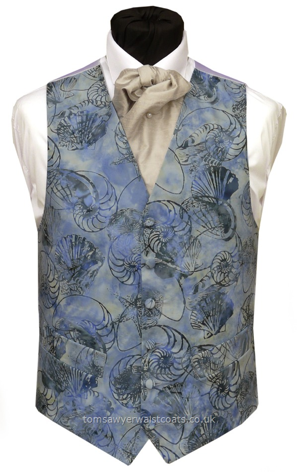 ": Hot Offers! : Bali Fresh Blue and Shells Waistcoat 40"" Chest"