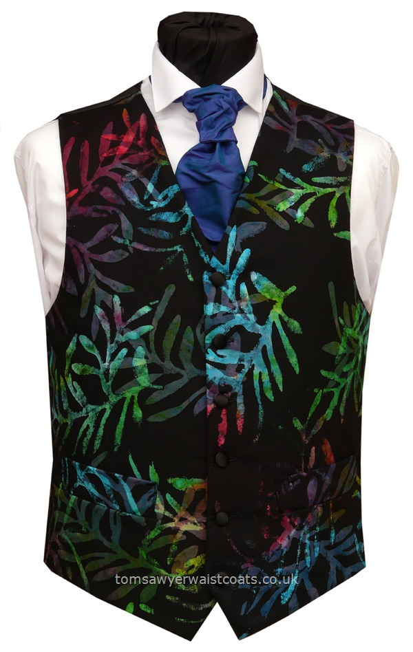 Bali Black with Palm Fronds Waistcoat