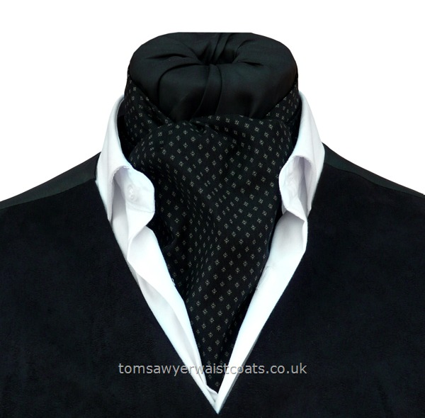 Neckwear : Day Cravats (Self-tie) : 'Amherst'  Black & Gray Cotton Day Cravat (Self-tie)