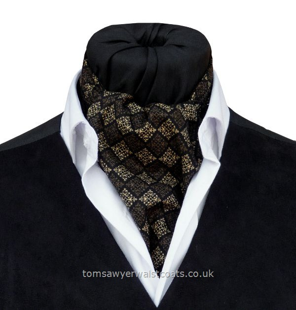 Neckwear : Day Cravats (Self-tie) : 'Berkeley'  Black & Gold Cotton Day Cravat (Self-tie)