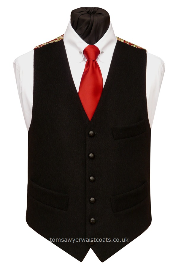 "Traditional Waistcoats : ""The Totnes Collection"" waistcoats : ""The Blackadon Tor"" Totnes Collection Black Waistcoat with Red Paisley Back & Lining"