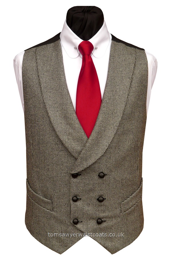 Traditional Waistcoats : Double Breasted Waistcoats : Black and Grey Dogtooth Check Shawl Collar Double Breasted Waistcoat