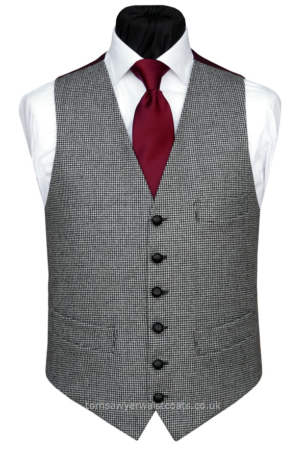 Traditional Waistcoats : Informal Waistcoats & Gentleman's Waistcoats : Black Dogtooth Single Breasted Waistcoat with Burgundy Back