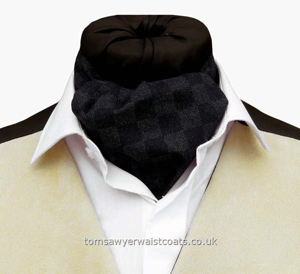 Neckwear : Day Cravats (Self-tie) : 'Knoxville'  Navy Geometric Squares Cotton Day Cravat (Self-tie)