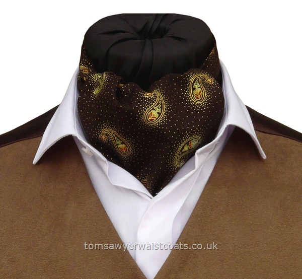 Neckwear : Day Cravats (Self-tie) : 'Livingston'  Brown & Gold Paisley Cotton Day Cravat (Self-tie)