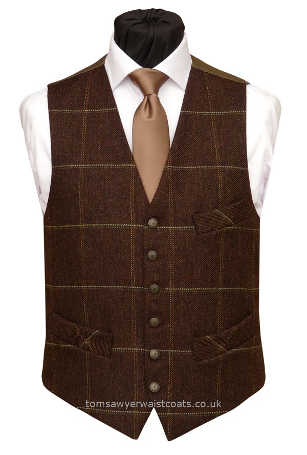 : Hot Offers! : Morhen Brown Check Tweed Waistcoat with Ginger brown Back & Lining