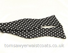 Black with White Spot Self Tie Silk Bowtie