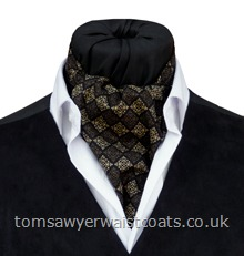 'Berkeley'  Black & Gold Cotton Day Cravat (Self-tie)