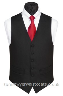 100% Linen waistcoat in black. Perfect for casual wear and cool summer style.Featuring a lower cut, shaped neckline. Waistcoat Style- TS398- Front Fabric- Linen- Colour- Black- Buttons- Fabric Covered- Back & Lining- Linen- You can click here to view our waistcoat size chart.Featured Shirt: Club Collar Shirt with Collar Bar-