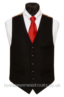 The Blackadon Tor Totnes Collection Black Waistcoat with Red Paisley Back & Lining