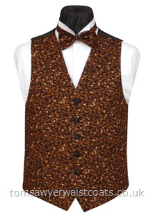 A scattering of whole coffee beans make this a waistcoat for the serious coffee lover or barista! Waistcoat Style- TS401- Front Fabric- 100% Cotton- Colour- Brown/coffee- Buttons- Black Satin- - Back-Front Lining- Black Polyester- Just one size 42'' Regular waistcoat available from stock at this hot offer price. -