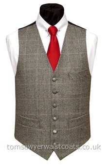 A quality pure wool woven in Yorkshire in England, the Prince of Wales fabric is a black and grey check with a fine blue line overcheck. Featuring a lower cut, shaped neckline and additional breast pocket. Waistcoat Style- TS399- Front Fabric- UK-woven 100% wool- Colour- Black, grey, blue- Buttons- Patterned Pewter Effect- Back & Lining- Black Polyester- Please choose the size you require. You can click here to view our size chart to help you dec....