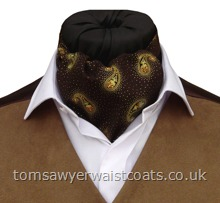 Livingston  Brown & Gold Paisley Cotton Day Cravat (Self-tie)
