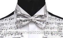 Fun Waistcoats : Musical Theme Waistcoats : Musical Score Ivory Pre-Tied Bowtie