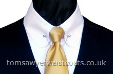 Traditional Waistcoats : Moleskin and Doeskin Waistcoats : Featured Neckwear - Gold Satin Necktie