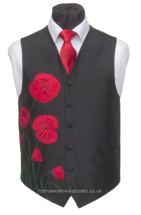 This glorious collection of poppies is an example of what can be commissioned from us. Each waistcoat in this design will be unique with the flowers imaginatively and individually arranged. Waistcoat Style- TS186 Poppies- Front Fabric- Silk Dupion- Colour- J143 Tartan Red and J146 Laurel Green on Black- Buttons- Black Silk covered- Back & Lining- Black Polyester- Please choose the size you require. You can click here to view our size chart to hel....