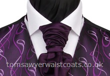 Wedding Waistcoats : Purple / Aubergine Waistcoats : Featured Neckwear - Amethyst (Purple) Satin Pre-tied Scrunchie Tie
