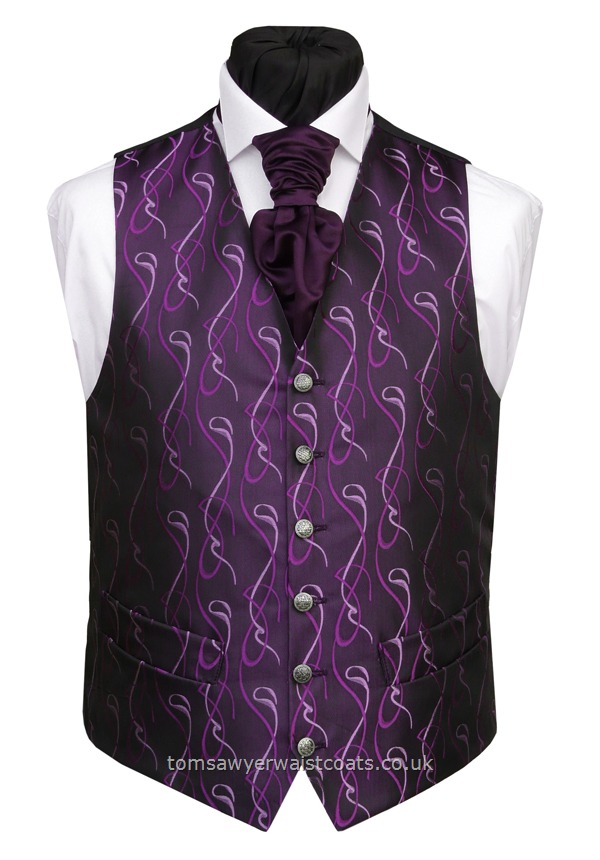 Deep Purple with Purple Swirls Waistcoat