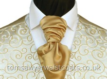 Featured Neckwear - Gold Satin Ready Tied Scrunch Tie