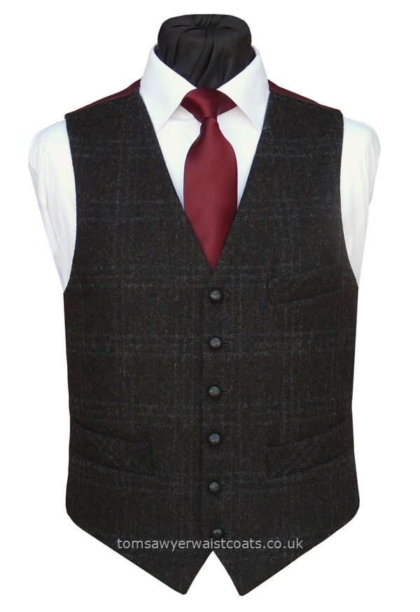 Traditional Waistcoats : Informal Waistcoats & Gentleman's Waistcoats : Charcoal 'Barely There Check' Waistcoat with Burgundy Twill Back