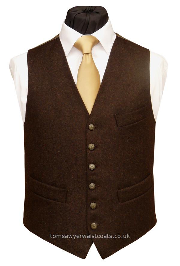 Highland Dark Brown Tweed Waistcoat Traditional